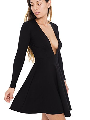 Amazon.com: American Apparel Women\'s Deep V Skater Dress, Black, X ...