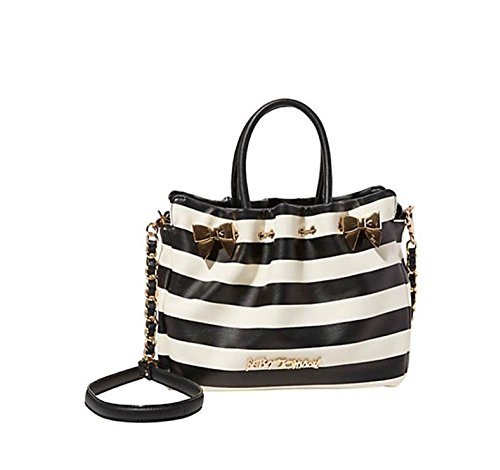 Betsey Johnson In A Pinch Stripe Battery Pack Usb Phone Charging Satchel Crossbody Shoulder Bag (Betsey Stripe Johnson)