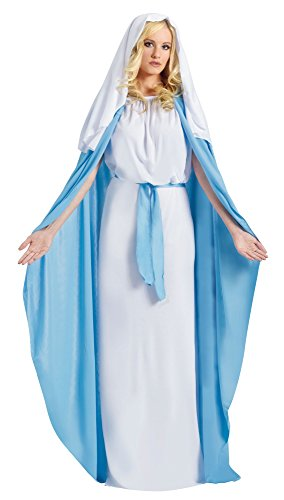 Fun World Costumes Women's Adult Mary Costume, White/Blue, One Size