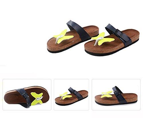 Damen Clip Toe Sandalen Strand Schuhe Pantoletten mit Korkfußbett Flip Flop Zehentrenner Offene Sandalen 5