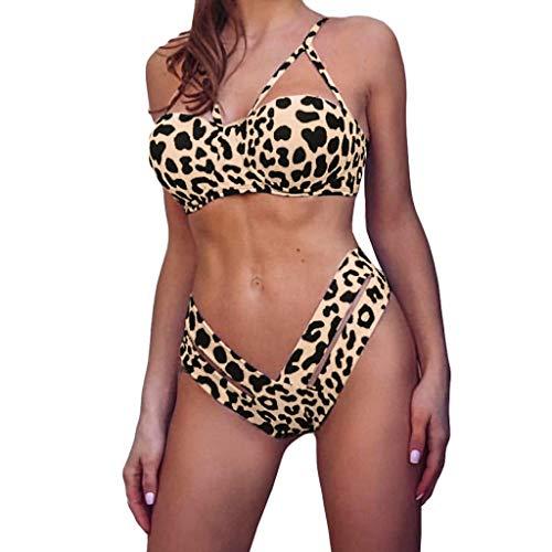 Benficial Women Sexy Off Shoulder Leopard Print Strap Swimsuit Camisole Bikini Set Two Piece Beachwear Yellow