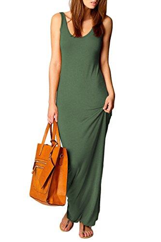 YMING Women's Casual Sleeveless Tank Top Long Maxi Dress Green L