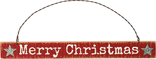 Primitives By Kathy 9.25 Inches x 1 Inch Metal Wire Wood Merry Christmas Sign Ornament - Home Decor Accents