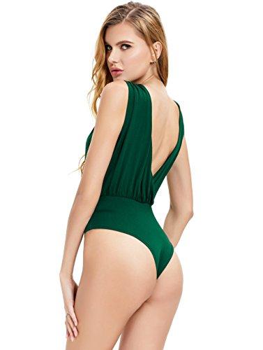 per Carnevale Un Maniche Body Quotidiana Senza Bodysuit Verde Scollo Classico Abollria Andare al Party Donna V Elegante Pezzo Mare o gPnwq1