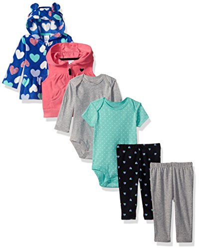 Carter's Baby Girls' 6-Piece Jacket and Vest Set, Navy Heart/Pink, 3 Months