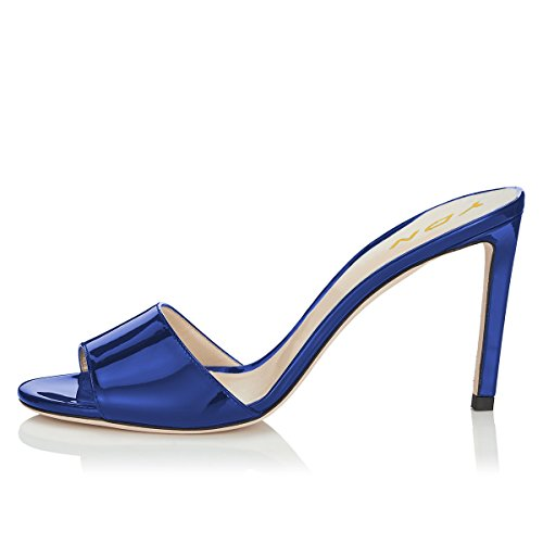 High Shoes patent Slip Peep Clog YDN Toe Slide on Comfort Mules Pumps Sandals Women Blue Dress Heel 6EnxxAq1aw