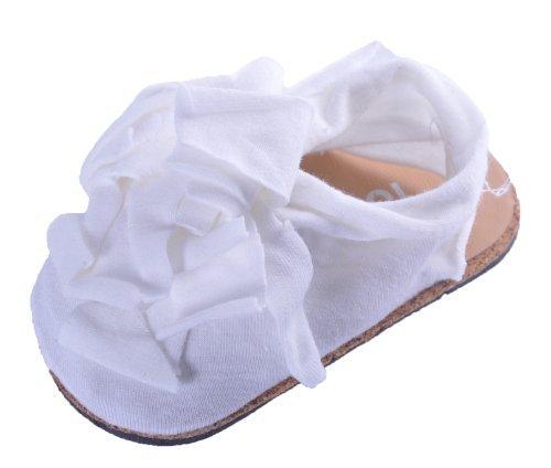 Scarpa Sandalino da Culla in Cotone Neonato Bambina con Dettaglio Floreale Elegante - Bianco, 0-6 mesi