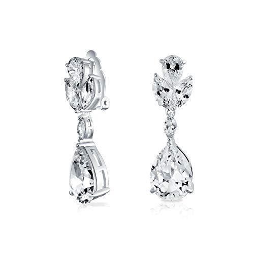 (Bridal Cubic Zirconia AAA CZ Pear Shape Teardrop Drop Dangle Clip-On Earrings For Women For Prom Silver Plated Brass )