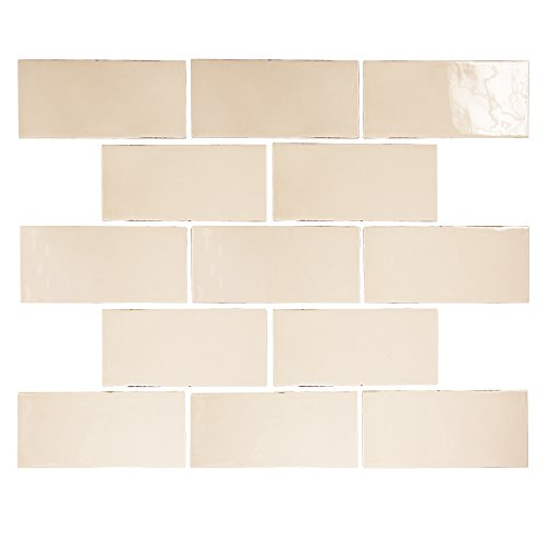 Pastel Buff Beige Glossy 3x6 Porcelain Subway Tile - Made in Spain - Kitchen and Bathroom Backsplashes - Fireplace Surrounds (Beige Ceramic Tile)