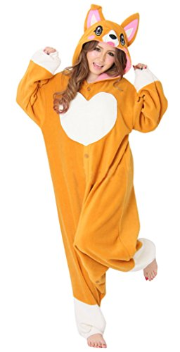 [Gillbro Anime Adult Animal Cosplay Costume Pajamas,Peach Dog,XL] (Disney Cartoon Mad Hatter Costume)