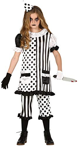 Girls Black White Spotty Stripy Pierrot Sad Clown Circus Halloween Carnival Creepy Fancy Dress Costume Outfit 5-12 Years (10-12