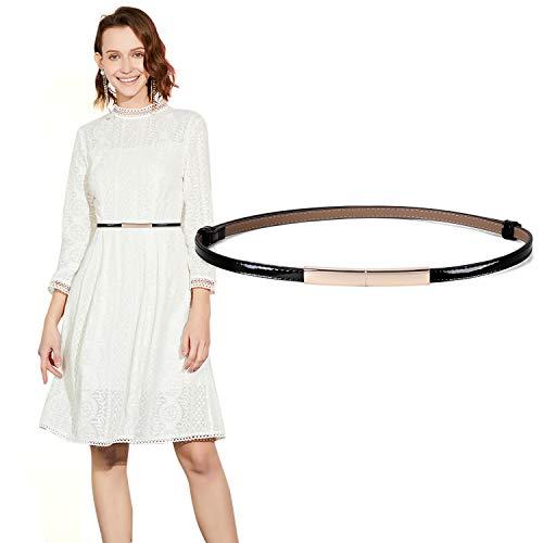 JASGOOD Women's Skinny Leather Belt Adjustable Slim Waist Belt with Gold Buckle for Dress(Black,Waist Size 24-38Inch) (Skinny Black Belt)