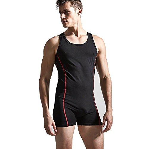 TiaoBug Men's Suspender One-Piece Tank Top Shorts Bodysuit Underwear Singlet Black X-Large