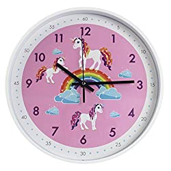TOHOOYO Pink Wall Clock,Silent Non Ticking Children's Décor Quiet Clocks for Kids Room,Office,School,Bedroom,Kitchen,Classroom (12 inch Pink)