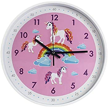 TOHOOYO Pink Wall Clock,Silent Non Ticking Childrens Décor Quiet Clocks for Kids Room,Office,School,Bedroom,Kitchen,Classroom (12 inch Pink)