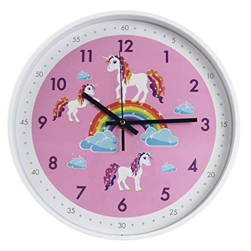 (TOHOOYO Pink Wall Clock,Silent Non Ticking Children's Décor Quiet Clocks for Kids Room,Office,School,Bedroom,Kitchen,Classroom (12 inch Pink))