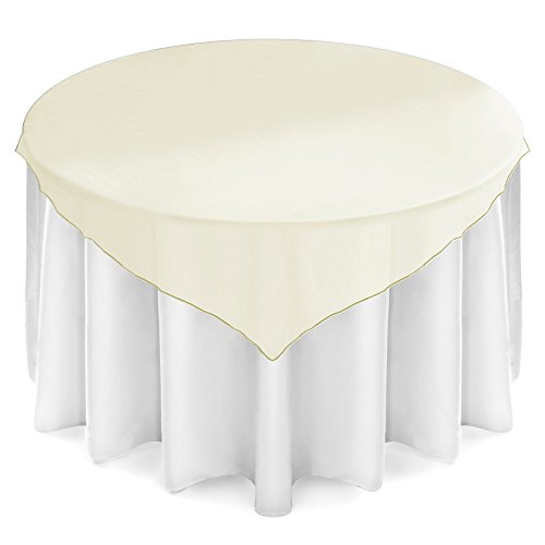 "Lanns Linens 5 Organza Overlay Table Toppers - 72"" Square Tablecloth Covers for Wedding, Reception or Party - Ivory"