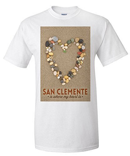 San Clemente Is Where My Heart Is - California - Stone Heart on Sand (White T-Shirt - San Is Where California Clemente