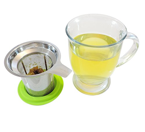 Best Loose Leaf Tea Infuser & Herbal Tea Steeper - Brews, Strains & Steeps Single Cup of Extra Fine Tea - Dishwasher Safe Silicone Top and Stainless Steel Tea Tumbler Basket & Infuser by Essential Home & Kitchen (Image #4)