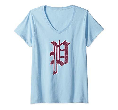 Womens Philadelphia Baseball P | Philly Pride Vintage Phillie V-Neck T-Shirt