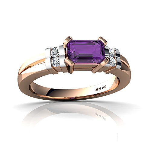 14kt Rose Gold Amethyst and Diamond 6x4mm Emerald_Cut Art Deco Ring - Size 8.5 (14kt Gold 6x4 Emerald)