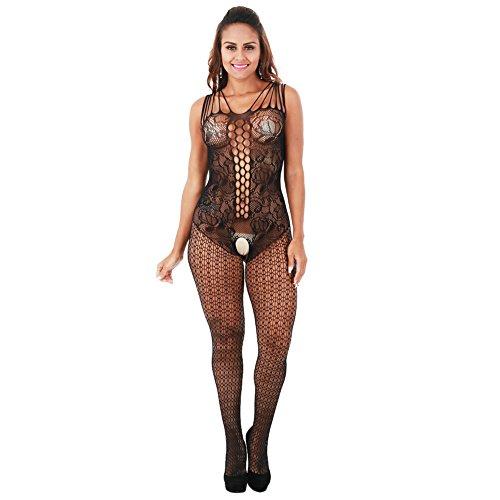 Fishnet bodystocking plus size Crotchless Bodysuit Lingerie for Women (black) - Female Bodysuit