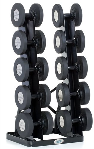 Vertical Twin Tower 5 Pair Rack Hold Any Style Dumbbell by Hampton Fitness