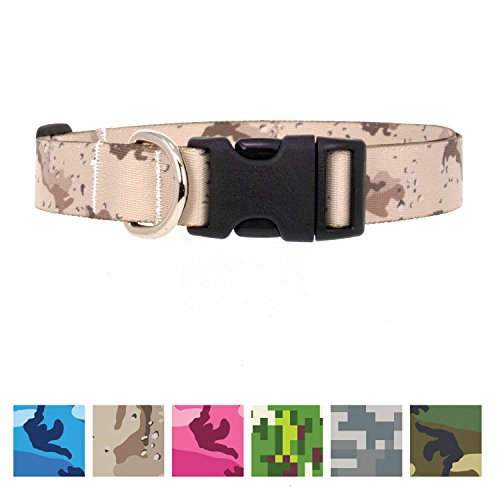 Buttonsmith Desert Camo Dog Collar - Fadeproof Permanently Bonded Printing, Military Grade Rustproof Buckle, Resistant to Odors & Mildew, Choice of 5 Sizes, Made in The USA