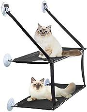 PUPPY KITTY Hamac de Fenêtre pour Chat 8-15KG Transat Support à Ventouse Double Couche Détachable Confortable 75 * 33 * 59cm