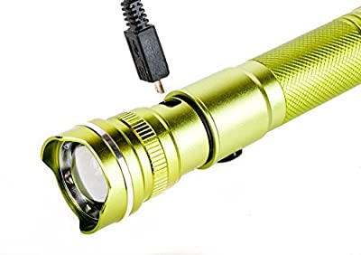 """On Sale! """"The Green Flash"""" Ultrabright Flashlight, USB Rechargeable. 480 Lumens. High Capacity 18650 Battery Included."""