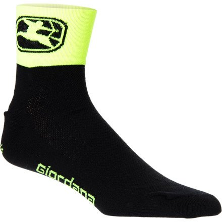 Mid Sock Trade Cuff - Giordana Classic Trade Mid Cuff Socks Black/Fluo Yellow, L - Men's