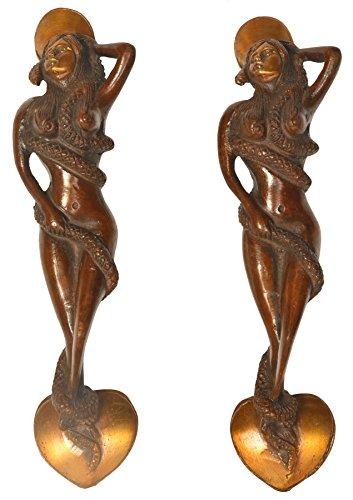 Snake Woman Door Handle - Brass Statue ()