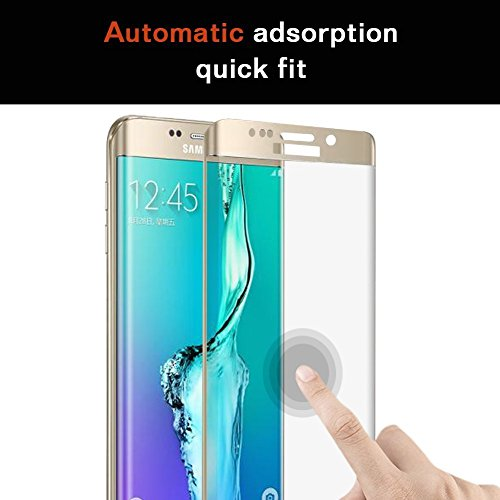 Speed-JS® Samsung Galaxy S6 Edge+ Plus Tempered Glass Screen Film Protector: Valuebuybuy 9H 0.2mm Thinest Full Cover Curved Edge to Edge Protection Armor Guard Shatterproof - S6 Edge Plus Gold