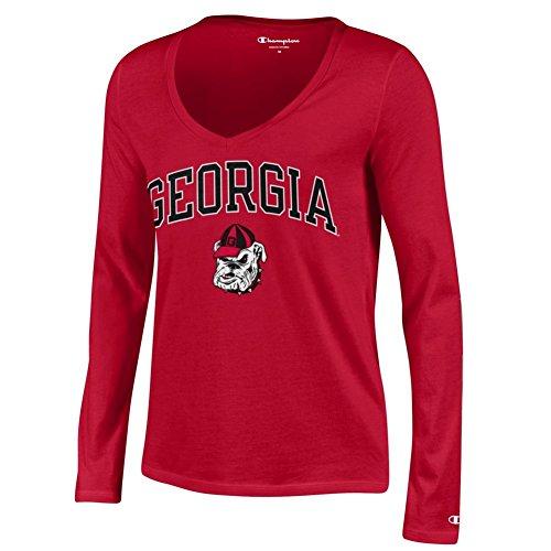 ia Bulldogs Womens Vneck Long Sleeve Tshirt Red - XL ()