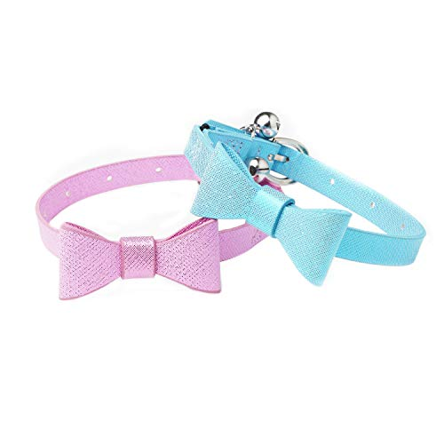 (Joansan Glitter Leather Cat Collar Set with Bow , Elastic Strap for Cat Safety Using,2 Packs with Blue and Pink Colors,Adjustable Length for Cats.)