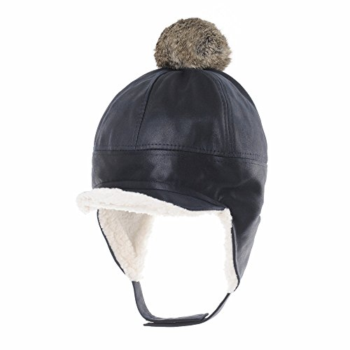 (WITHMOONS Faux Leather Aviator Trooper Hat Detachable Fur Pom SL7550 (Navy))