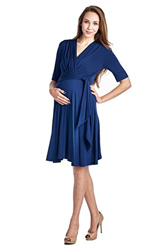 LaClef Womens Front Tie Nursing Freindly Baby Shower Maternity Wrap Dress