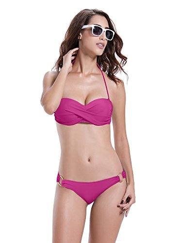 Reteron Women's Bandeau Twist Push Up Bikini Swimwear (XL(us12-14), Purple)