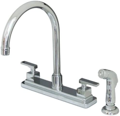 Kingston Brass KS8791QLL Executive Twin Lever HandleKitchen Faucet with Sprayer, 8 , Polished Chrome