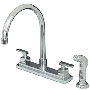 Kingston Brass KS8791QLL Executive Twin Lever Handle 8-Inch Kitchen Faucet with Sprayer, Polished Chrome