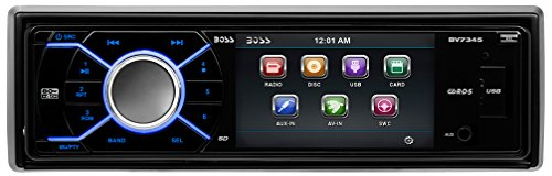 BOSS AUDIO BV7345 Single-DIN 3.2 inch Screen DVD Player Receiver, Detachable Front Panel, Wireless Remote