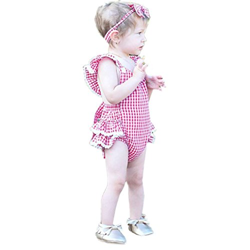 [Kenvenz Newborn Infant Baby Girls Sleeveless Plaid Clothes Romper Jumpsuit Outfits (6M, Pink)] (Baby Batgirl Outfit)
