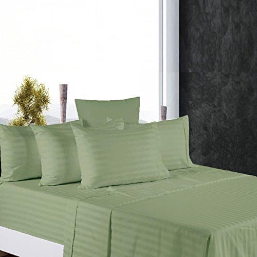 King Size Sheets Luxury Soft 100% Egyptian Cotton - Sheet Set for King Mattress Sage Stripe 600 Thread Count Deep Pocket