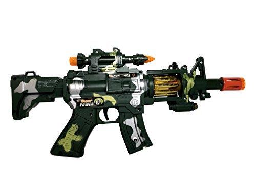 SY 12 Inch Rapid Fire Machine Gun Toy - with Dazzling Light, Remarkable Sound & Amazing Machine Gun Live Action ()