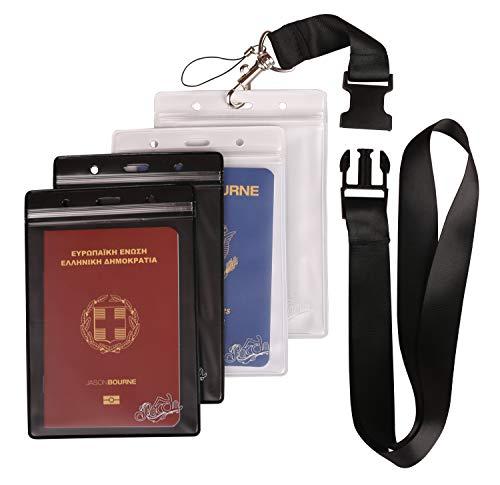 Rocclo Traveler Waterproof Passport Holder One Black Lanyard with 4 Zip Lock PVC Double-Side
