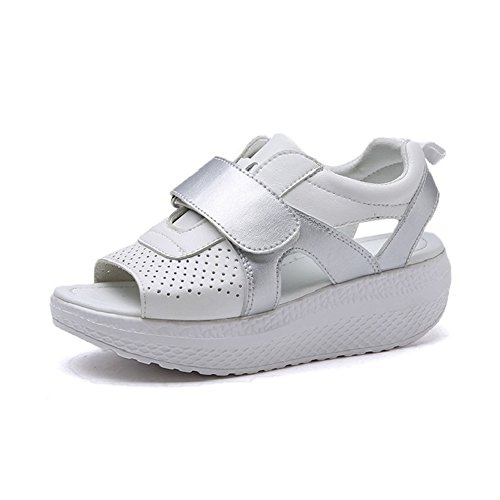 Cushion Walk punta aperta zeppa sandali con cinturino comode e leggere