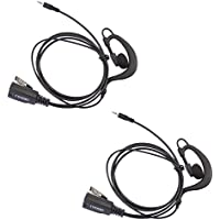 Lot 2 x Coodio G-Shape Earpiece Police Security Headset inline PTT Mic Microphone For 1 Pin Cobra MicroTalk 2 Way Radio Walkie Talkie