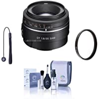 Sony 35mm f/1.8 DT SAM Lens for Alpha A DSLR Mount Cameras - Bundle with 55mm UV Filter, Cleaning Kit, Capleash II