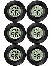 Thlevel LCD digital temperatur luftfuktighet meter termometer, mini digital termometer hygrometer och luftfuktighetsmätare för växthus/bilar/hem/kontor, svart, 6 Pack - Round