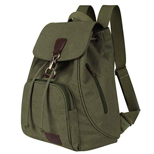 Qyoubi Womens Canvas Fashion Backpacks Purse Casual Outdoor Shopping Daypacks School Girls Travel Multipurpose Bag Green